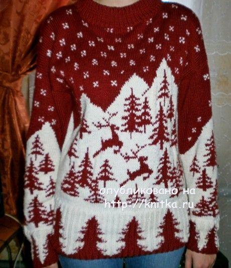 Женский пуловер спицами (интарсия). Работа Наталии Гуторовой. Вязание спицами. 0n