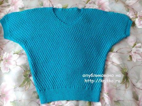 Женский пуловер спицами. Работа Оксаны Усмановой вязание и схемы вязания