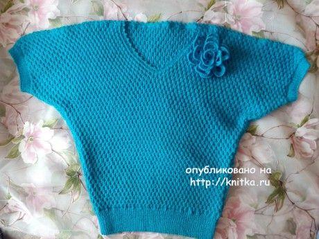 Женский пуловер спицами. Работа Оксаны Усмановой. Вязание спицами. 0n