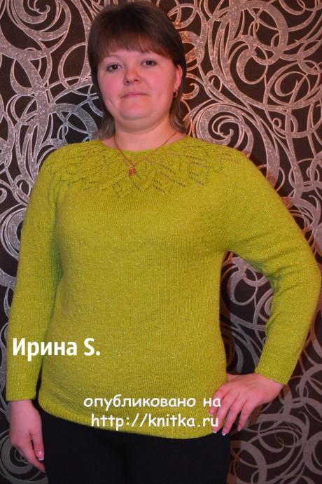 Свитер с круглой кокеткой. Работа Ирины Стильник. Вязание спицами.