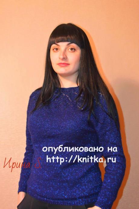 Ажурный свитер. Работа Ирины Стильник. Вязание спицами.