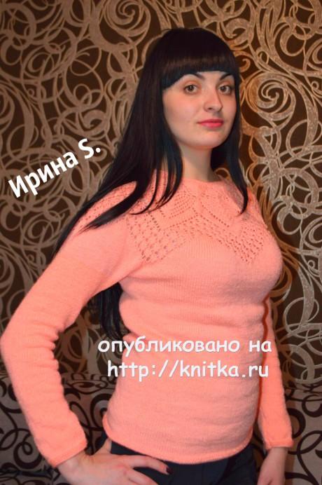 Ажурный женский свитер спицами. Работа Ирины Стильник. Вязание спицами.