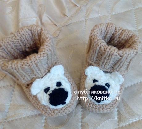 Пинетки с мишками. Работа Риммы вязание и схемы вязания