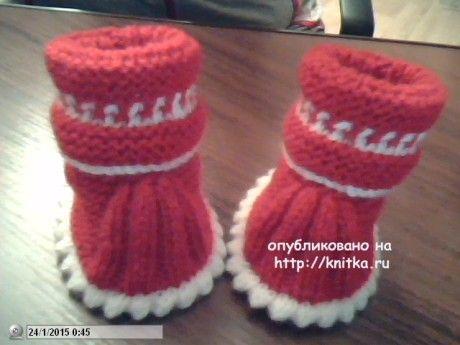 Пинетки спицами. Работы Риммы вязание и схемы вязания