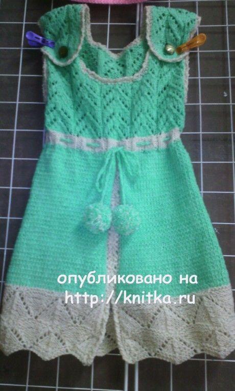 Сарафан для девочки спицами. Работа Натальи вязание и схемы вязания