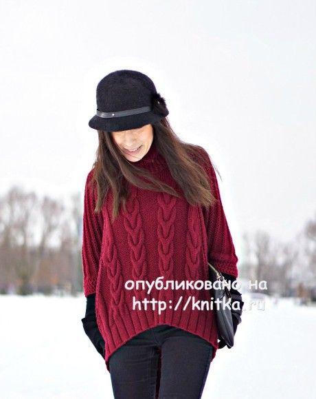 Вязаное спицами пончо. Работа Вилены вязание и схемы вязания