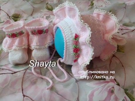 Вязаный чепчик. Работа Оксаны Усмановой вязание и схемы вязания