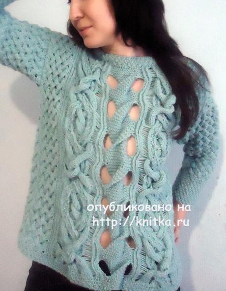 Вязаный женский свитер. Работа Лилии вязание и схемы вязания