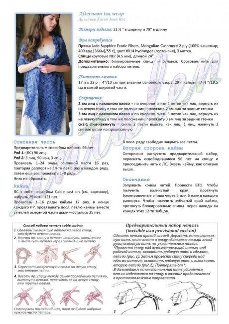 Описание и схемы вязания