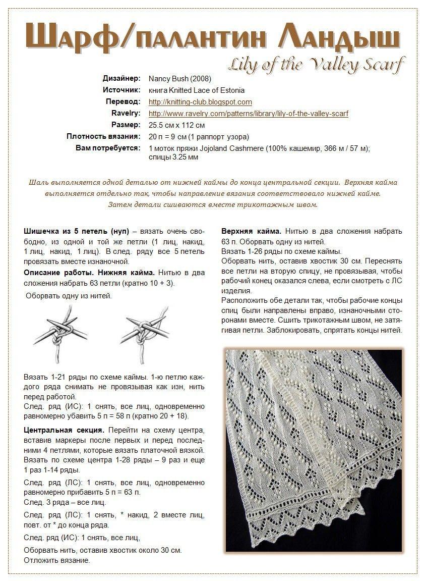 Схема вязки ажурного шарфа спицами
