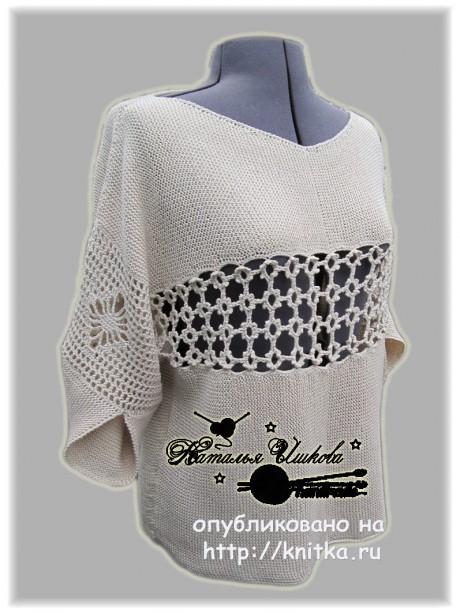 блузка спицами