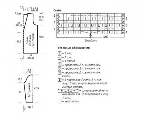 схема и выкройка кардигана спицами