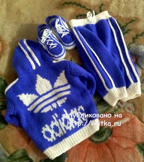 Детский вязаный костюм Adidas. Работа Валентины вязание и схемы вязания