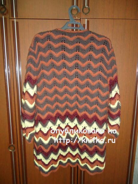 Кардиган с цветными волнами. Работа Екатерины вязание и схемы вязания