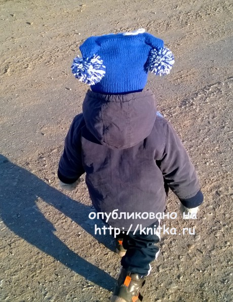 Шапочка для мальчика Паровозик. Работа Ольги вязание и схемы вязания