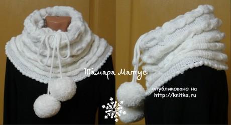 Шарф - снуд Снегопад. Работа Тамары Матус вязание и схемы вязания