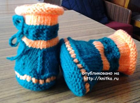 Туфельки - пинетки с носочком. Работа Риммы вязание и схемы вязания