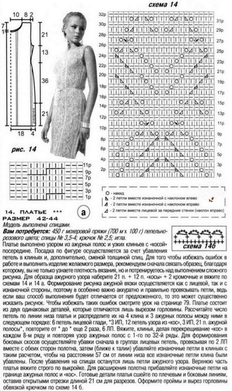 Схема и описание платья: