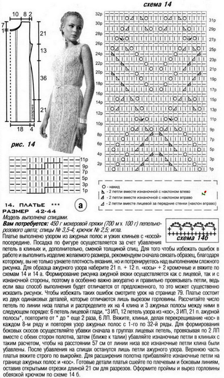 схема вязания платья из буклированных ниток