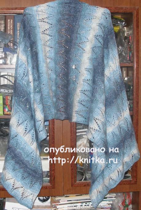 Ажурный палантин. Работа Елены вязание и схемы вязания