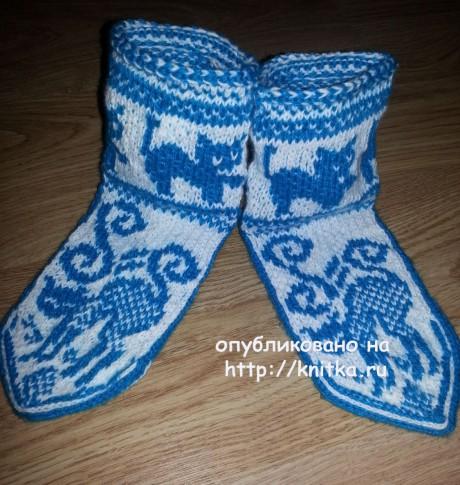 Носки с кошками. Работа Фариды. Вязание спицами.
