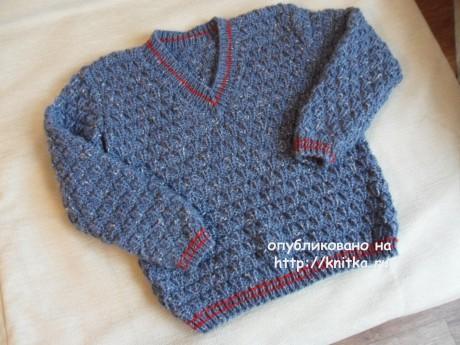 Пуловер для мальчика спицами. Работа Светланы Шевченко вязание и схемы вязания