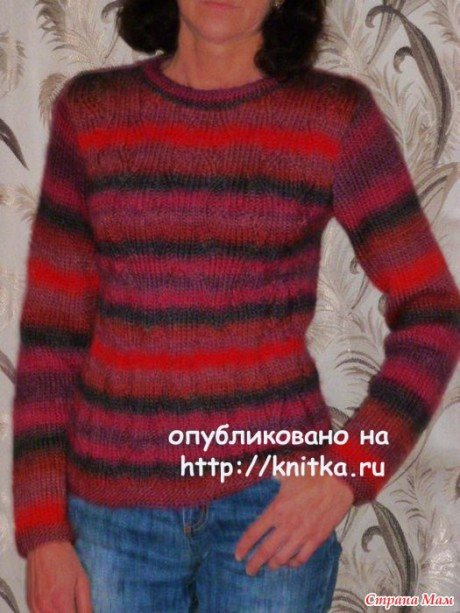 Пуловер из секционной пряжи. Работа Марины Ефименко вязание и схемы вязания
