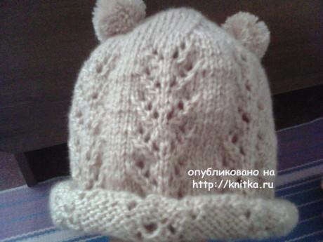 Шапочка для девочки спицами. Работа Анастасии вязание и схемы вязания