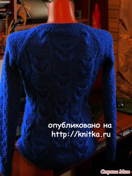 Синий джемпер. Работа Марины Ефименко вязание и схемы вязания
