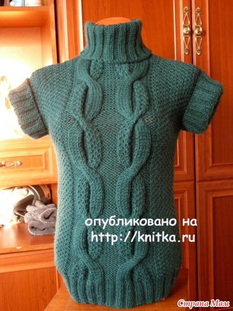 Теплая безрукавка спицами. Работа Марины Ефименко. Вязание спицами.