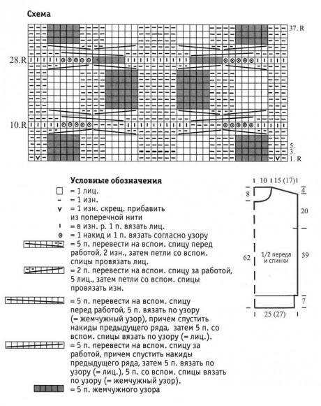 Схема вязания безрукавки и выкройка: