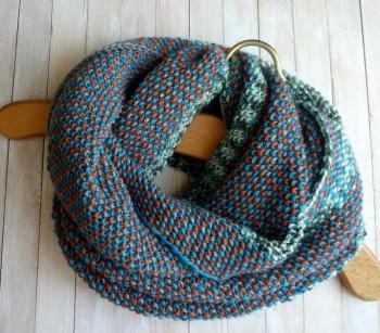 Схема узора для шарф-снуда спицами из секционной пряжи