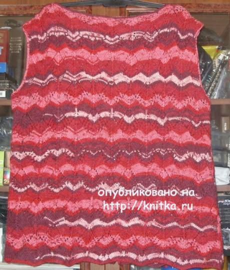 Цветная жилетка на застежке. Работа Елены вязание и схемы вязания
