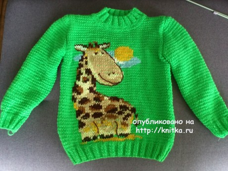 Детский джемпер спицами. Работа Ирины вязание и схемы вязания