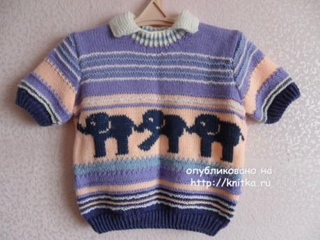 Детский пуловер Парад слонов. Работа Светланы Шевченко. Вязание спицами.