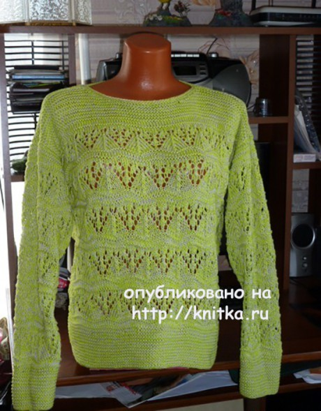 Пуловер с ажурным узором. Работа Марины Ефименко вязание и схемы вязания