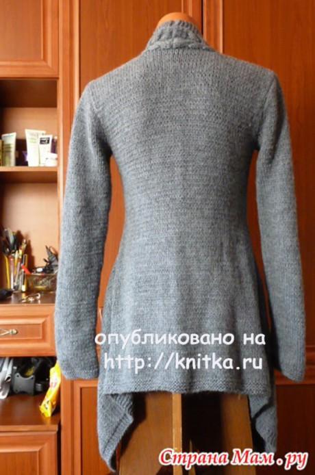 Серый жакет спицами. Работа Марины Ефименко вязание и схемы вязания