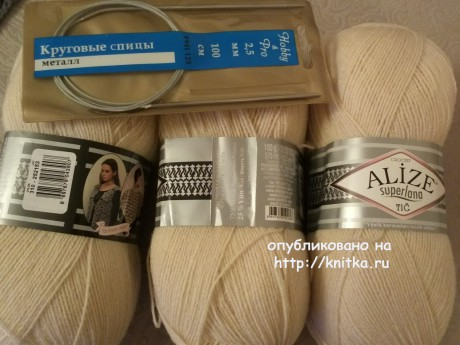 Шаль - накидка спицами. Работа Ирины вязание и схемы вязания