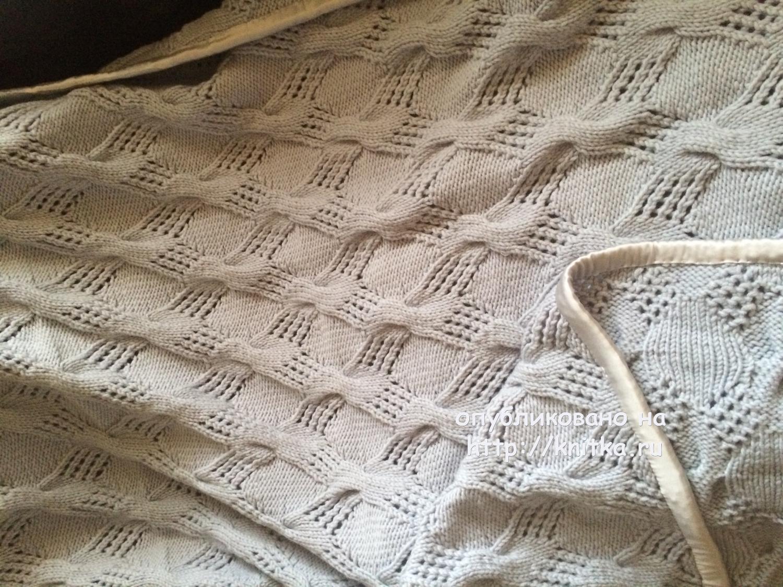 кайма для пледа узор спицами схемы вязания