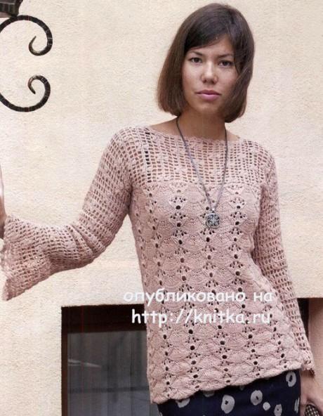 Женский пуловер с ажурными рукавами. Работа Елены вязание и схемы вязания
