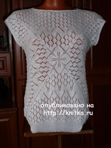 Белая кофточка с цветком. Работа Марины Ефименко вязание и схемы вязания