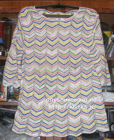Цветная летняя кофточка. Работа Елены вязание и схемы вязания