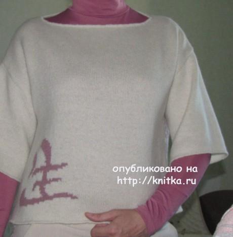 Пуловер спицами Древо жизни. Работа Арины вязание и схемы вязания