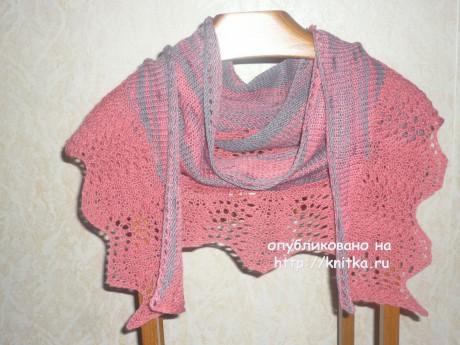 Шаль спицами. Работа Ольги вязание и схемы вязания