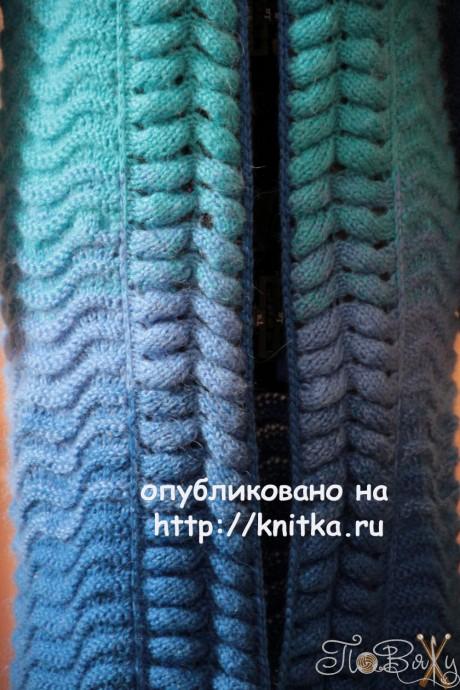 Женский кардиган спиами. Работа Елены Петровой вязание и схемы вязания