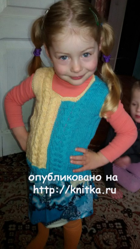 Жилет для девочки спицами. Работа Валерии. Вязание спицами.