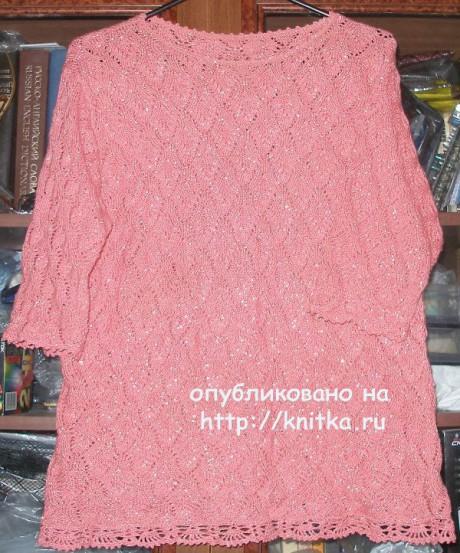 Ажурная летняя кофточка. Работа Елены вязание и схемы вязания