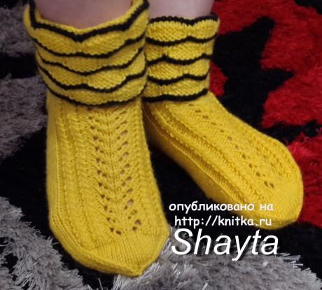 Домашние ажурные носочки спицами. Работы Оксаны Усмановой. Вязание спицами.