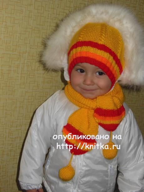 Шапка и шарф спицами. Работы Татьяны вязание и схемы вязания