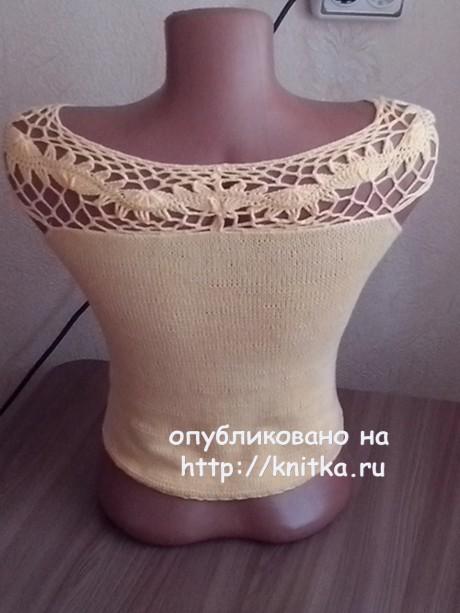 Топ с ажурной кокеткой. Работа Ивановой Светланы вязание и схемы вязания